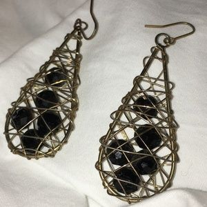 Jewelry - Gold with Black Beads Drop Earrings